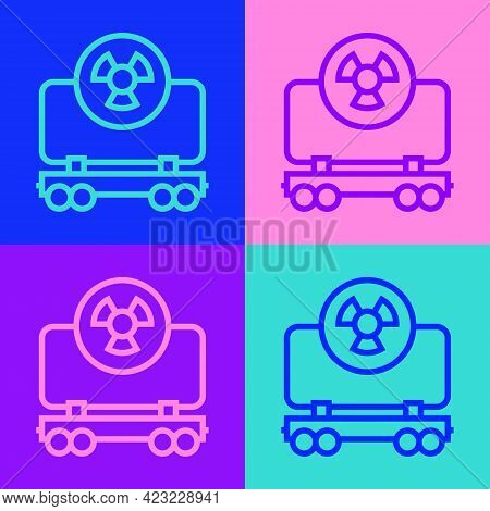 Pop Art Line Radioactive Cargo Train Wagon Icon Isolated On Color Background. Freight Car. Railroad