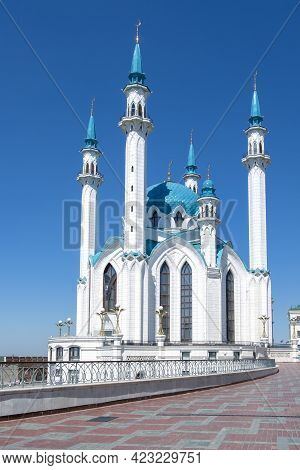 Kazan, Russia - May 19, 2021. View Of The Main Cathedral Juma Mosque Of Tatarstan And The City Of Ka