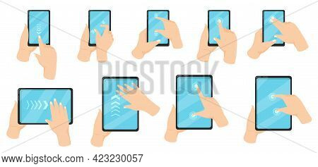 Hand On Phone Using Touchscreen Gestures Vector Illustration Set. Fingers Pinching To Zoom In And Ou