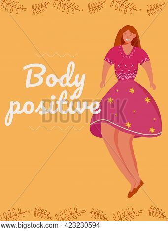 Body Positive Poster Vector Template. Feminism Movement. Brochure, Cover, Booklet Page Concept Desig