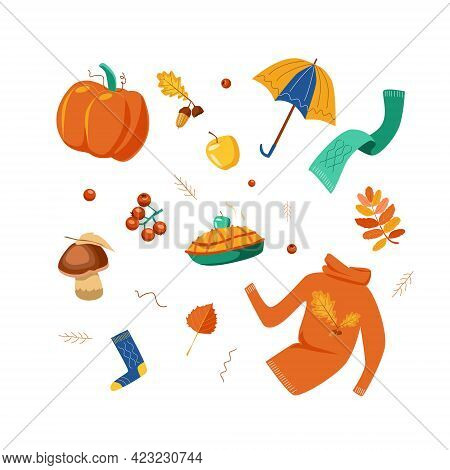 Autumn Collection Of Bright Elements In Flat Style. Pumpkin, Umbrella, Sweater, Scarf, Apple Pie, Is