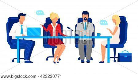 Directors Board, Shareholder Meeting Flat Vector Illustration. Professional Businessmen And Business