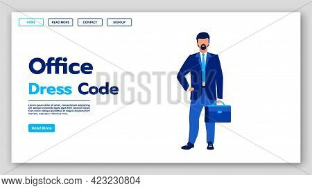Office Dress Code Landing Page Vector Template. Business Fashion Website Interface Idea With Flat Il
