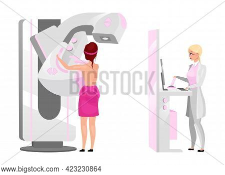 Physician Making Mammography Screening Flat Vector Illustration. Woman Scanning Breast With X Ray Ma