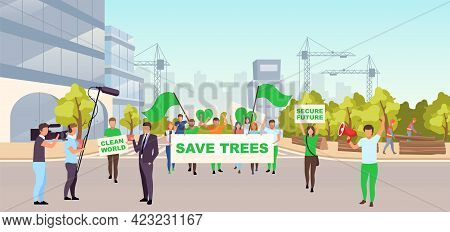 Save Trees Social Protest Flat Illustration. Ecological Movement, Environmental Protection Event Con