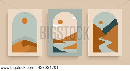 Simply Posters With With Rivers, Desert, Sun And Mountains. Set Of Rectangular Abstract Landscapes I