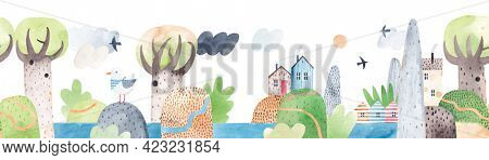 Watercolor landscape, mountains, hills, river, trees and cute houses. Lake among the hills. Horizontal repeating landscape.