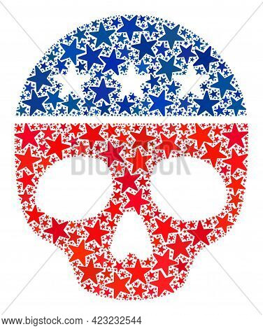Dead Skull Composition Of Stars In Variable Sizes And Color Hues. Dead Skull Illustration Uses Ameri
