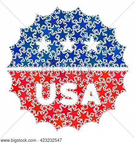 Usa Medallion Logo Collage Of Stars In Various Sizes And Color Tones. Usa Medallion Logo Illustratio