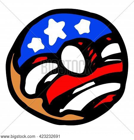 Doodle Donut American Flag, Great Design For Any Purposes.vector Donut With A Pattern Of Red And Whi