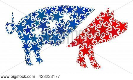 Pork Composition Of Stars In Different Sizes And Color Tints. Pork Illustration Uses American Offici