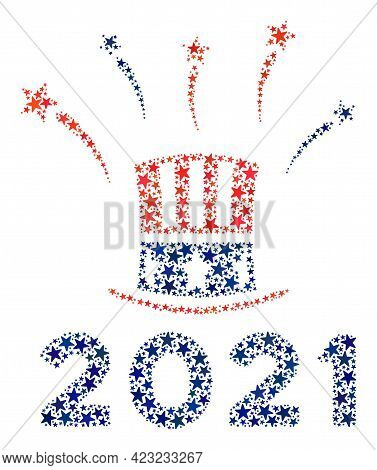 Uncle Sam 2021 Salute Collage Of Stars In Variable Sizes And Color Hues. Uncle Sam 2021 Salute Illus