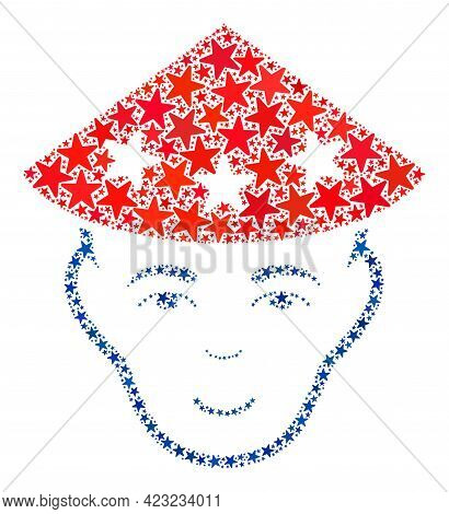 Chinese Peasant Head Collage Of Stars In Various Sizes And Color Tinges. Chinese Peasant Head Illust