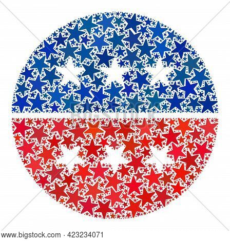 American Circle Logo Collage Of Stars In Different Sizes And Color Tints. American Circle Logo Illus