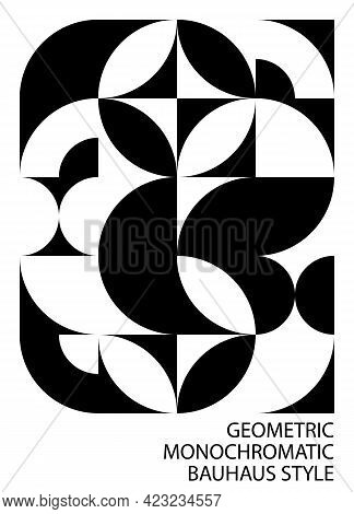 Abstract Black White Background, Bauhaus Style. Geometric Pattern, Circle, Semicircle, Arc Corner, L