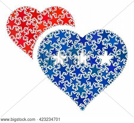 Lover Hearts Composition Of Stars In Various Sizes And Color Shades. Lover Hearts Illustration Uses