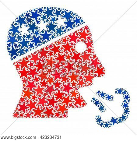 Speaking Man Head Collage Of Stars In Variable Sizes And Color Tinges. Speaking Man Head Illustratio