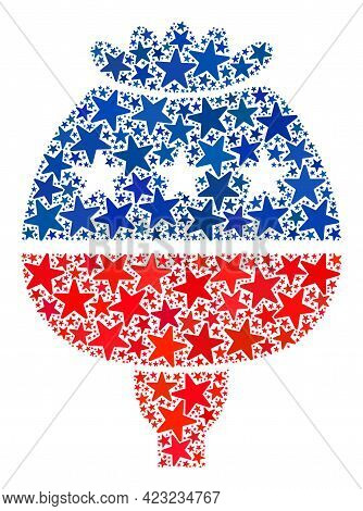 Opium Poppy Mosaic Of Stars In Variable Sizes And Color Tints. Opium Poppy Illustration Uses America