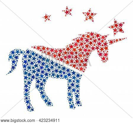 Unicorn Composition Of Stars In Different Sizes And Color Hues. Unicorn Illustration Uses American O