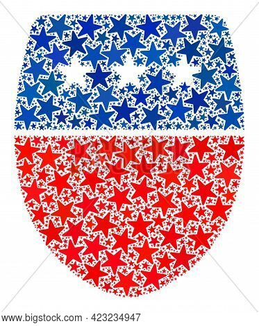 Guard Shield Collage Of Stars In Variable Sizes And Color Tints. Guard Shield Illustration Uses Amer