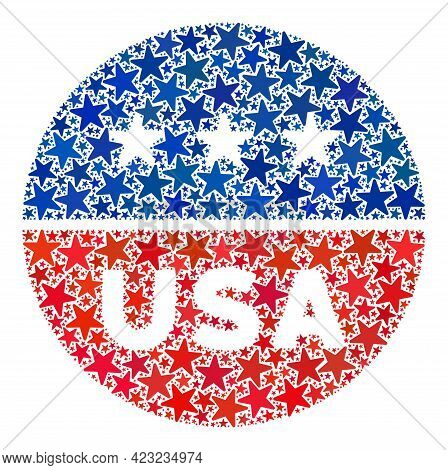 Usa Circle Logo Composition Of Stars In Variable Sizes And Color Tones. Usa Circle Logo Illustration