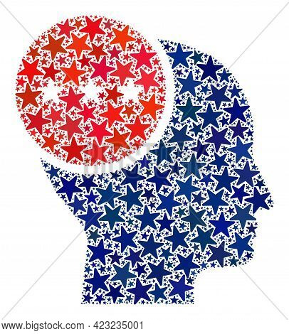 Thinking Person Collage Of Stars In Different Sizes And Color Hues. Thinking Person Illustration Use