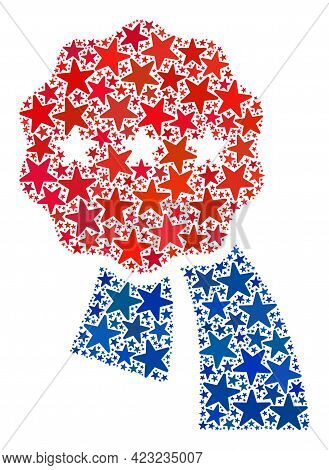 Best Award Mosaic Of Stars In Different Sizes And Color Hues. Best Award Illustration Uses American