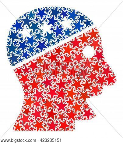 Talking Head Composition Of Stars In Variable Sizes And Color Tones. Talking Head Illustration Uses