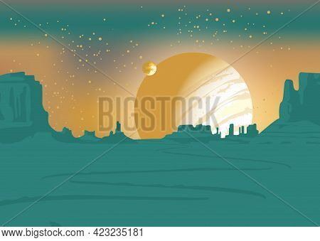 Vector Landscape Of An Alien Planet With A Deserted Valley, A Winding Road, Rocks And A View Of Two