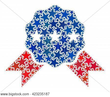 Quality Award Collage Of Stars In Various Sizes And Color Hues. Quality Award Illustration Uses Amer
