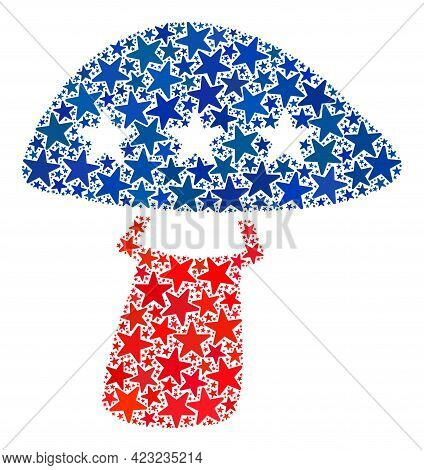 Mushroom Collage Of Stars In Variable Sizes And Color Shades. Mushroom Illustration Uses American Of