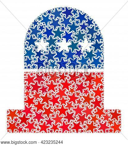Cemetery Collage Of Stars In Variable Sizes And Color Tinges. Cemetery Illustration Uses American Of