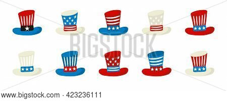 Top Hat Uncle Sam Icons Set Isolated. Elements By July 4th In National Colors Of United States Of Am