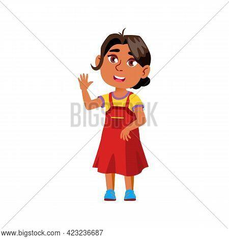 Cute Indian Girl Greeting Parents In Elementary School Cartoon Vector. Cute Indian Girl Greeting Par