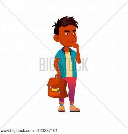 Thoughtful Boy With School Bag On Educational Lesson Cartoon Vector. Thoughtful Boy With School Bag