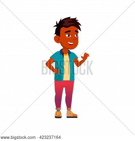 Smiling Arabian Boy Choosing Ice Cream In Cafeteria Cartoon Vector. Smiling Arabian Boy Choosing Ice