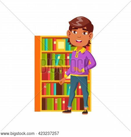 Preteen Hispanic Boy Staying Near Home Library Shelves With Books Cartoon Vector. Preteen Hispanic B