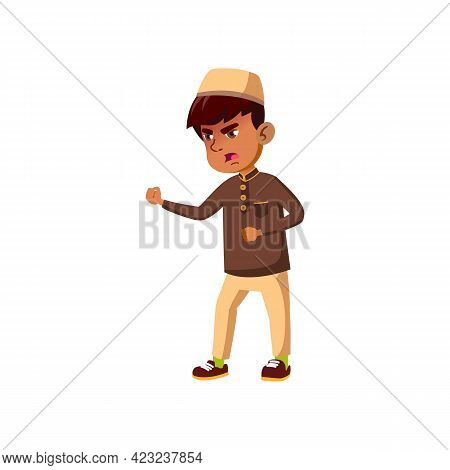 Angry Islamic Boy Fighting With Enemy At School Cartoon Vector. Angry Islamic Boy Fighting With Enem