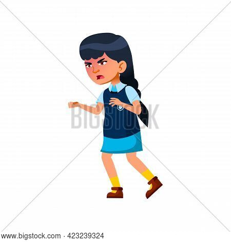 Dissatisfied Girl Screaming And Chaise Somebody Cartoon Vector. Dissatisfied Girl Screaming And Chai