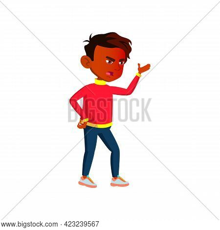 Mad India Boy Screaming At Classmate On School Backyard Cartoon Vector. Mad India Boy Screaming At C