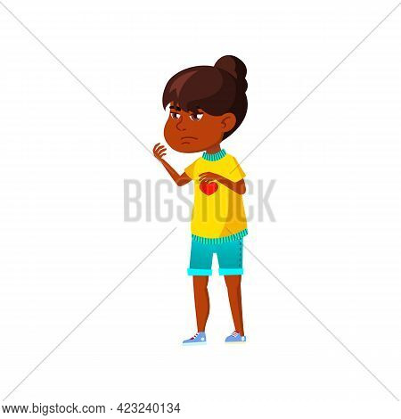 Displeased Girl Calling Sister From Playground Cartoon Vector. Displeased Girl Calling Sister From P