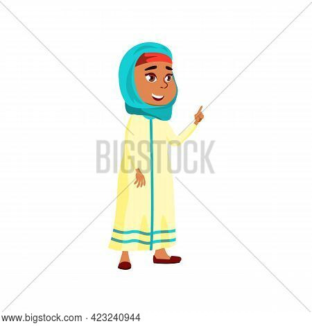 Cute Islamic Girl Has Idea For Resolve Problem Cartoon Vector. Cute Islamic Girl Has Idea For Resolv