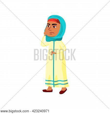 Thoughtful Arabian Girl Thinking About Math Exercise At School Cartoon Vector. Thoughtful Arabian Gi