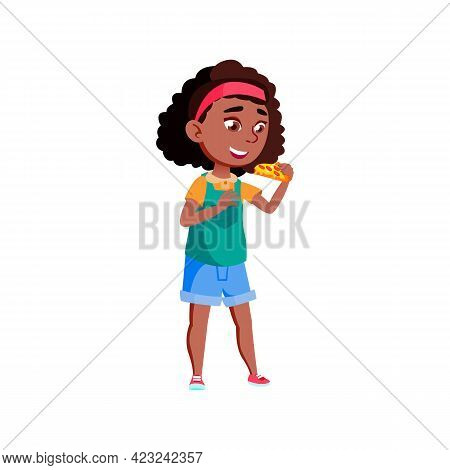 Cute African Girl Eating Pizza Piece In Pizzeria Food Cafe Cartoon Vector. Cute African Girl Eating
