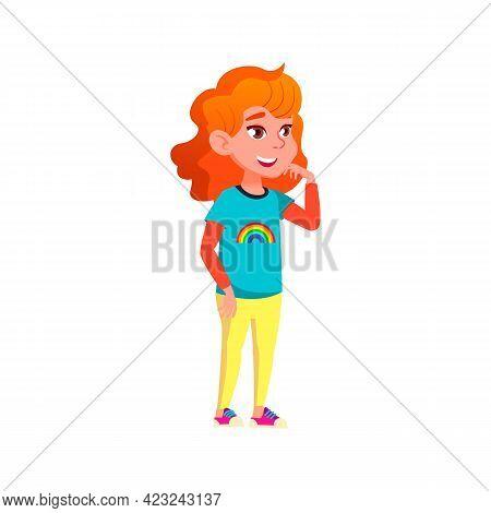 Redhead Cute Girl Look At Attractive Attraction In Park Cartoon Vector. Redhead Cute Girl Look At At