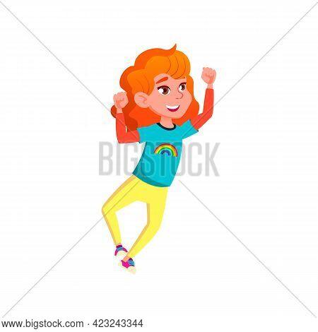 Happy Redhead Girl Kid Celebrate Victory In Board Game Cartoon Vector. Happy Redhead Girl Kid Celebr