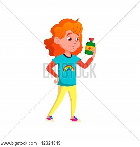 Thoughtful Girl Reading Medical Sirop Prescription On Bottle Cartoon Vector. Thoughtful Girl Reading