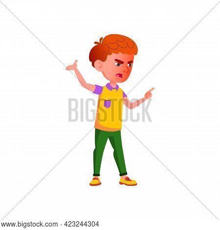 Crazy Boy Shouting At Sister In Backyard Cartoon Vector. Crazy Boy Shouting At Sister In Backyard Ch