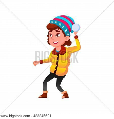 Happiness Caucasian Girl Playing Snowballs With Friends In Park Cartoon Vector. Happiness Caucasian
