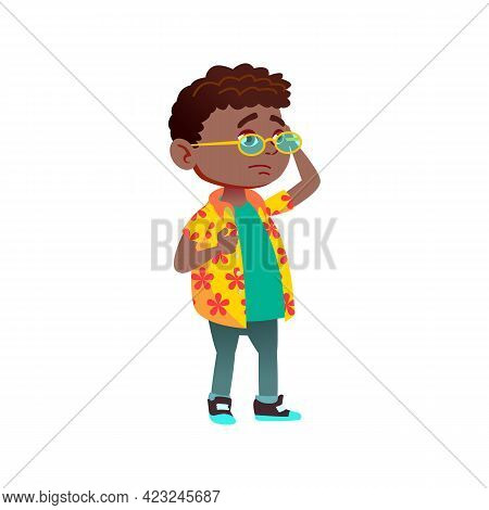 African Little Boy Deciding Buy Ice Cream Or Chips In Market Cartoon Vector. African Little Boy Deci